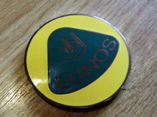 Badge, enamel, Eunos Nosecone, retro style, 55mm, yellow/green